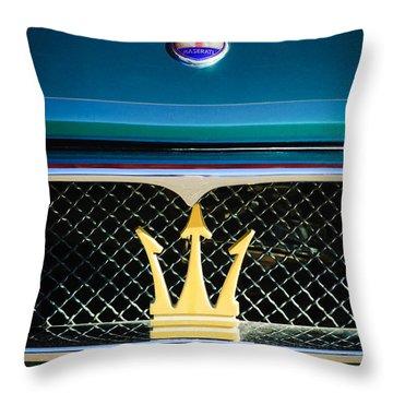 1972 Maserati Ghibli Grille - Hood Emblems Throw Pillow