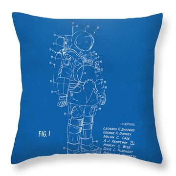 1973 Space Suit Patent Inventors Artwork - Blueprint Throw Pillow