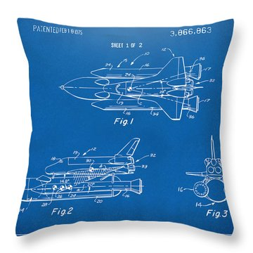 1975 Space Shuttle Patent - Blueprint Throw Pillow by Nikki Marie Smith