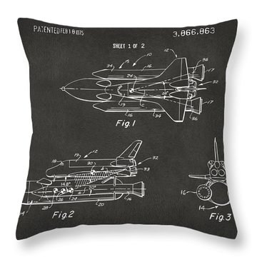 1975 Space Shuttle Patent - Gray Throw Pillow