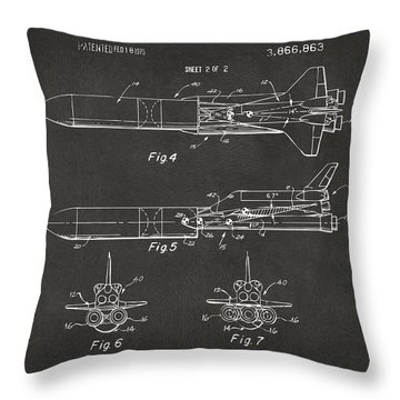 1975 Space Vehicle Patent - Gray Throw Pillow