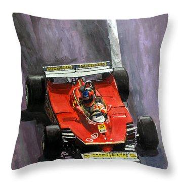 1980 Monaco Gp Gilles Villeneuve Ferrari 312 T5  Throw Pillow