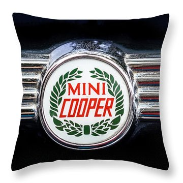 1982 Austin Mini Cooper Badge Throw Pillow