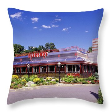 1990s Classic Art Deco Style Diner Hyde Throw Pillow