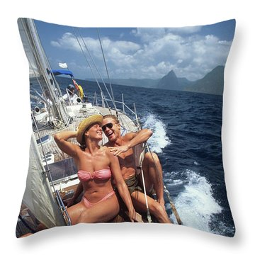1990s Couple Sitting On Bow Of Sailboat Throw Pillow