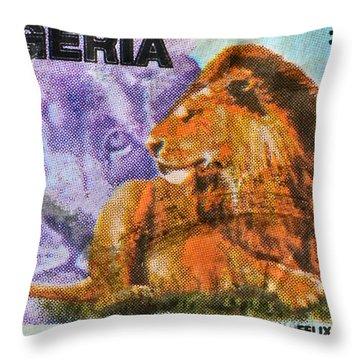 1993 Nigerian Lion Stamp Throw Pillow