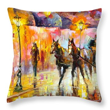 19th Century Mood Throw Pillow by Leonid Afremov