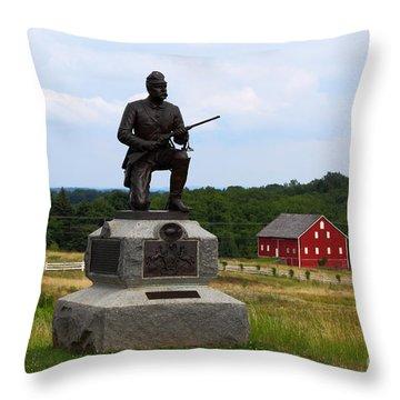 1st Pennsylvania Cavalry Defending Cemetery Ridge Throw Pillow by James Brunker