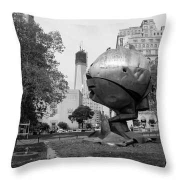 1w T C And The W T C Fountain Sphere In Black And White Throw Pillow by Rob Hans