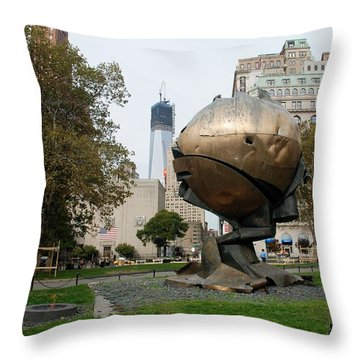 1w T C And The W T C Fountain Sphere Throw Pillow by Rob Hans