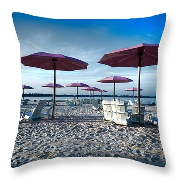 Umbrellas On The Beach Throw Pillow