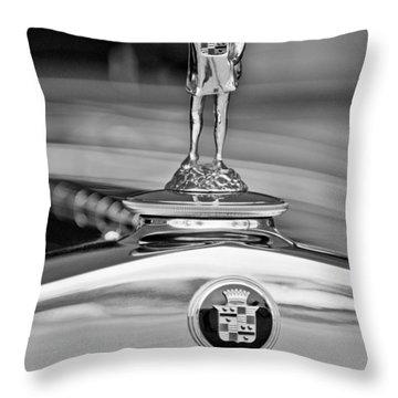 1929 Cadillac 1183 Dual Cowl Phaeton Hood Ornament Throw Pillow by Jill Reger