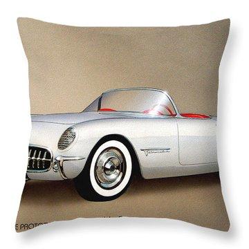 1953 Corvette Classic Vintage Sports Car Automotive Art Throw Pillow