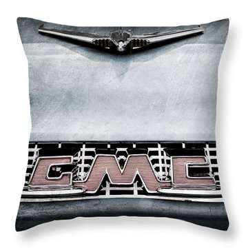 1956 Gmc 100 Deluxe Edition Pickup Truck Hood Ornament - Grille Emblem Throw Pillow by Jill Reger