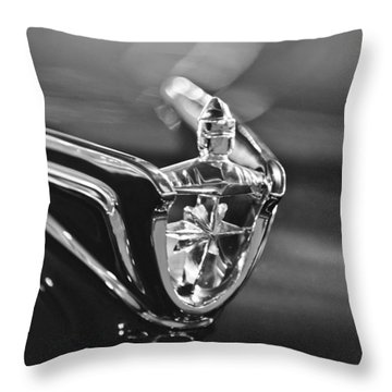 1956 Lincoln Premiere Convertible Hood Ornament Throw Pillow by Jill Reger