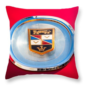 1960 Chrysler Imperial Crown Convertible Emblem Throw Pillow by Jill Reger