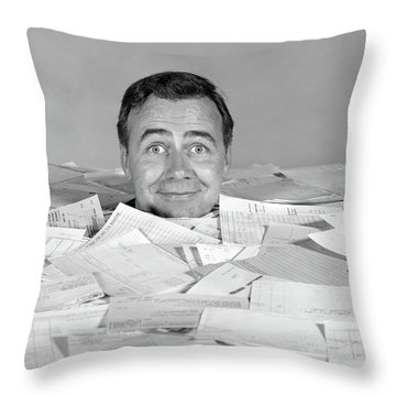 1960s Man Buried Up To His Neck Throw Pillow