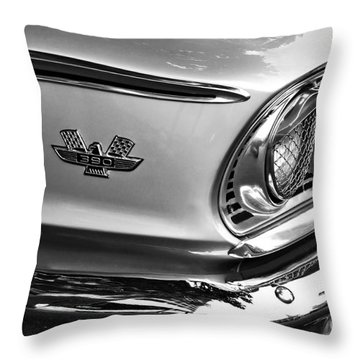 1963 Ford Galaxie Front End And Badge Throw Pillow by Kaye Menner