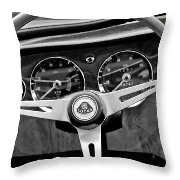 1965 Lotus Elan S2 Steering Wheel Emblem Throw Pillow by Jill Reger