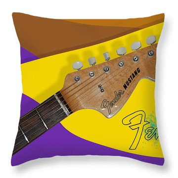 Throw Pillow featuring the digital art 1966 Fender Mustang by Arthur Eggers