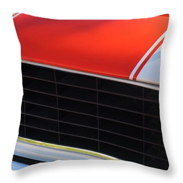 96 Inch Panoramic -1969 Chevrolet Camaro Rs-ss Indy Pace Car Replica Grille - Hood Emblems Throw Pillow by Jill Reger