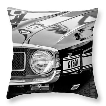 1969 Shelby Cobra Gt500 Front End - Grille Emblem Throw Pillow