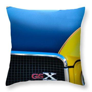 Throw Pillow featuring the photograph 1970 Buick Gsx Grille Emblem by Jill Reger