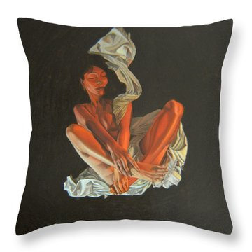 Throw Pillow featuring the painting 2 30 Am by Thu Nguyen