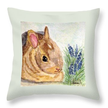 Throw Pillow featuring the painting A Baby Bunny by Angela Davies