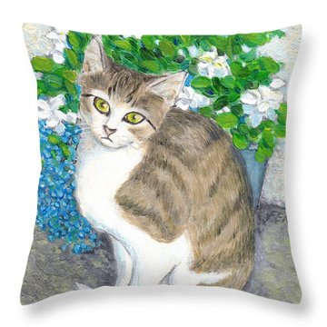 A Cat And Flowers Throw Pillow