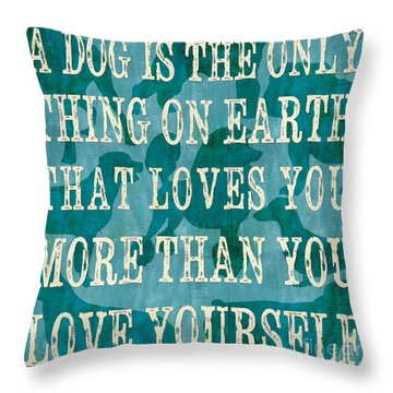 A Dog Throw Pillow by Debbie DeWitt