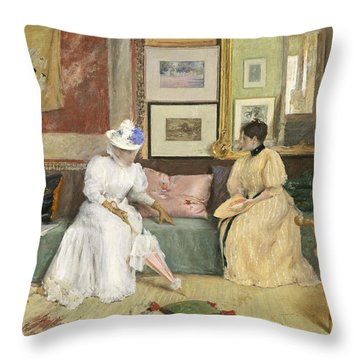 A Friendly Call Throw Pillow by William Merritt Chase