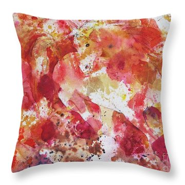 Throw Pillow featuring the painting A Horse Appeared by Joan Hartenstein