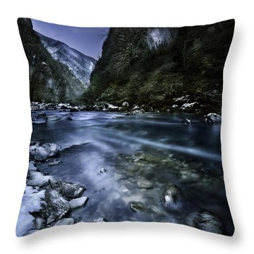 A River Flowing Through The Snowy Throw Pillow by Evgeny Kuklev