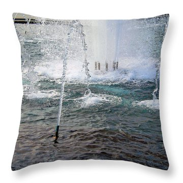 Throw Pillow featuring the photograph A World War Fountain by Cora Wandel