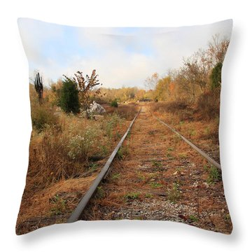 Abandoned Tracks Throw Pillow by Melinda Fawver