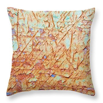 Abstract  Rust And Metal Series Throw Pillow by Mark Weaver