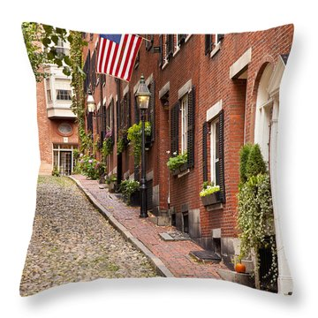 Acorn Street Boston Throw Pillow