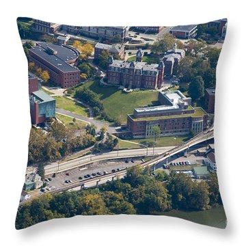 aerials of WVVU campus Throw Pillow