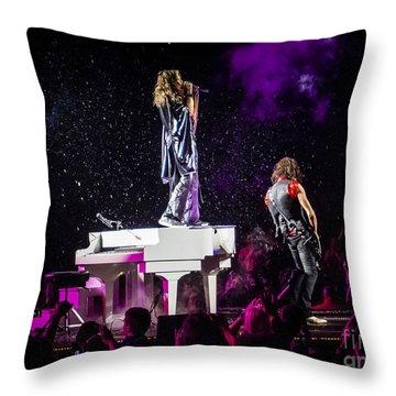 Aerosmith Steven Tyler Joe Perry In Concert Throw Pillow by Jani Bryson