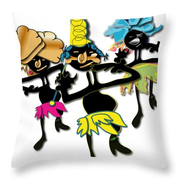 Throw Pillow featuring the digital art African Dancers by Marvin Blaine