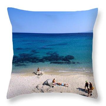 Agrari Beach Throw Pillow by George Atsametakis