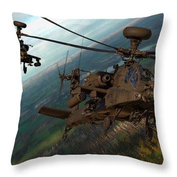 2 Ah64 Apache Throw Pillow by Ken Brannen