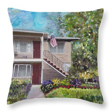 Alameda 1908 Duplex  Throw Pillow by Linda Weinstock