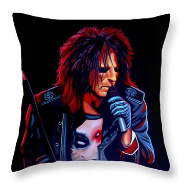 Alice Cooper  Throw Pillow by Paul Meijering