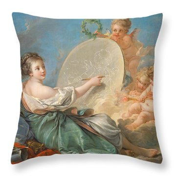 Allegory Of Painting Throw Pillow by Francois Boucher