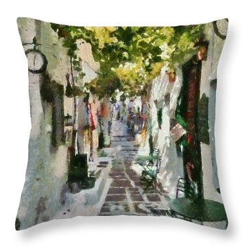 Alley In Ios Town Throw Pillow