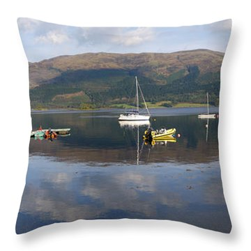 Along Loch Leven 3 Throw Pillow by Wendy Wilton