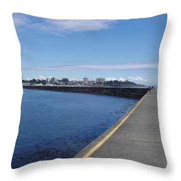 Throw Pillow featuring the photograph Along The Breakwater by Marilyn Wilson