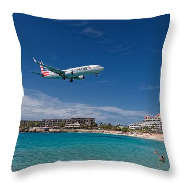 American Airlines At St Maarten Throw Pillow by David Gleeson